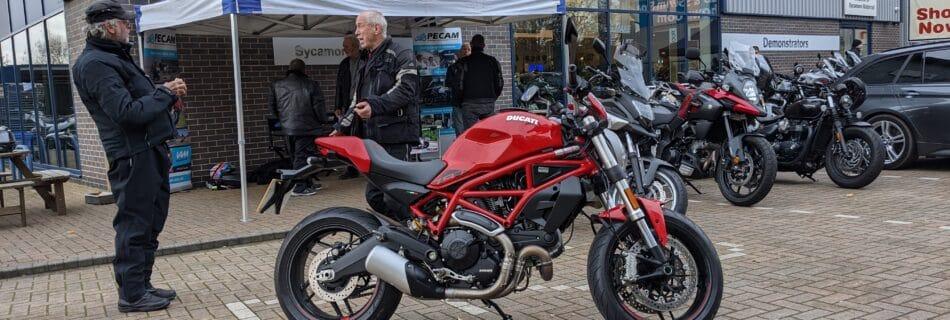 PECAM recruitment stand at Sycamore Motorrad, Peterborough